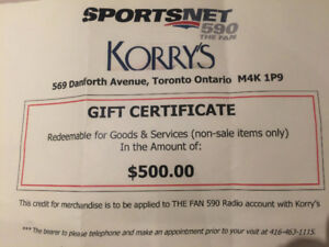$500 Gift Certificate for Korry's Clothiers on the Danforth.