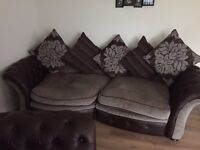 Large brown leather settee with fabric seats and cushions + 2 armchairs