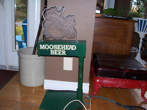 Rare Vintage Light Up Moosehead Beer Sign 33 Tall and 14 wide. M