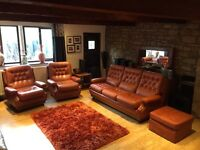Tan Brown Leather 4 Piece Sofa Suite 3 Seater Sofa + 2 Armchairs + Footrest