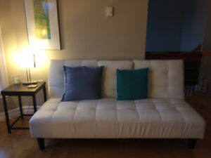 Faux Leather stylish white couch converts to double bed