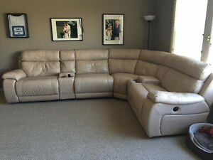 Gorgeous Leather sectional with 2 power recliners & glider chair