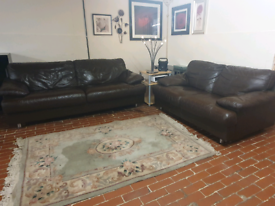 Sofology violina 3+2 seater brown real leather sofa's