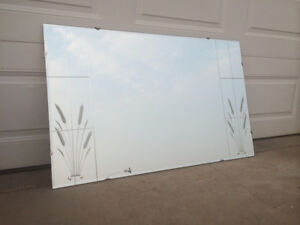 Vintage Mid Century Modern Plate Glass Etched WHEAT MIRROR