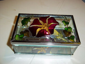 "Unique Stained Glass Trinket Boxes 5"" x 3"" x 2"" tall"