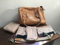 Genuine Brown Leather Storksak Changing Bag