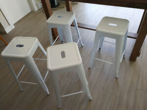 "Four (4) White Barchetta 30"" Bar Stools"