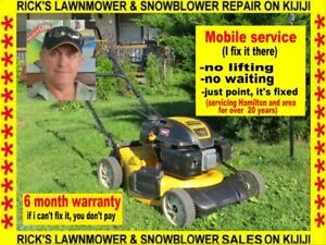Rick's mobile lawnmower snow blower repair