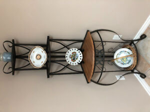 Two metal decorative stands