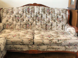French Provincial style solid wood vintage sofa / love seat