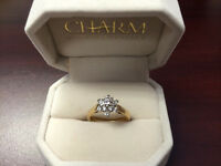 Diamond Engagement Ring  .80 karat of diamonds, 10 k yellow gold