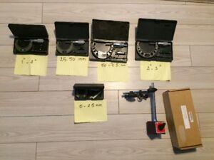 Micrométres Mitutuyo et une base magnetique