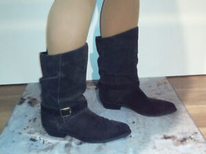 Size 9  -  Black, Low Heel, Suede Cowboy Boots - 2 pairs