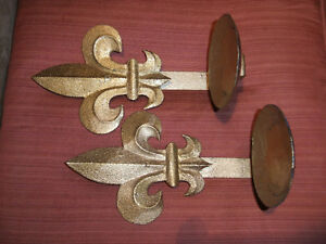 "wall decor ""fleur de lys"" candle holders"