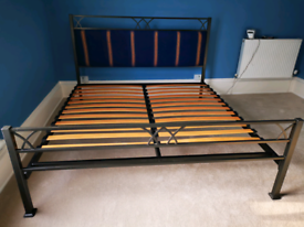 Superking metal bed with padded headboard
