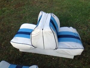 blue and whit boat seats