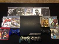 Play Station 3 with 4 controllers and 11 popular games