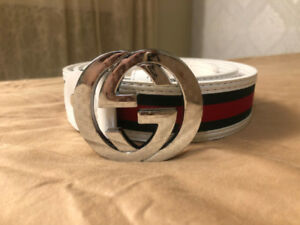 81ea4a4cbfc Mens GUCCI Belt (White Green Red with Silver Double