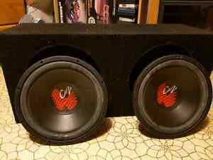 """8 ohms power class c2 dual 10"""" subs with box"""