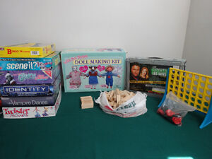 Board games, doll making kit $15 EACH or BUY TWO GET ONE FREE