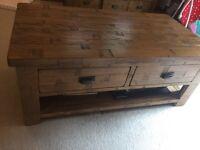 Solid Rustic Oak Wood Coffee Table