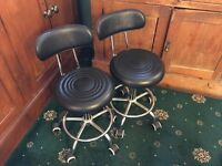 Black Salon Hairdressing Beauty Therapy Gas Lift Chairs X 2