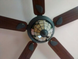 Ceiling Fan with Tiffany Style Light