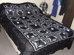 Beautiful Hand Crocheted Afghan - Black & White - $75.00