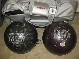 2 Laser Bowling Balls with Bowling Bag for Sale