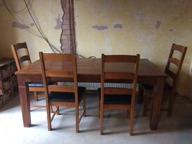 Table and chairs solid wood