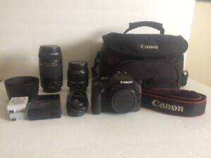Canon T2i with two lenses and camera bag