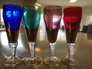 4 Vintage Multi Color Chrystal Wine Glasses gold rim From Italy