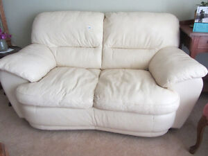 Cream Coloured Leather Loveseat & Couch