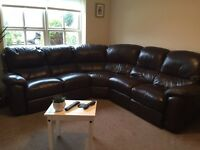 5 seater leather corner sofa with chair