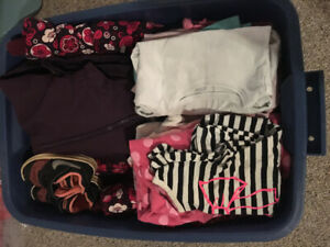 Bin of 12, 18 and 24 month girls clothes