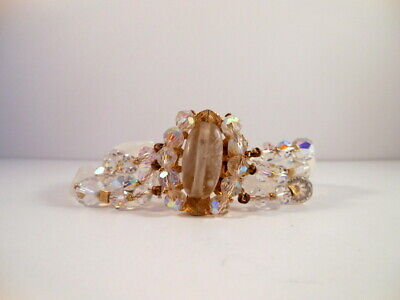Vintage Signed CROWN TRIFARI Frosted Glass AB Faceted Crystal Gold Tone Bracelet
