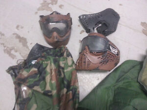 paintball gear, masks, and paintball g u n asking $150.00 OBO