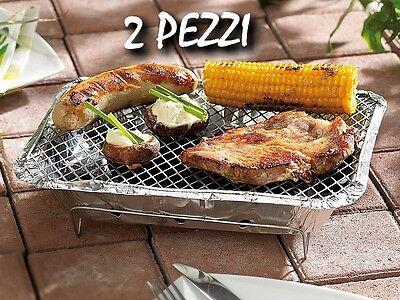 Set 2 pezzi GRIGLIA per BARBEQUE picnic Pronta USA e GETTA con Carbone BBQ