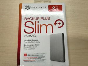 SLIM SEGATE Hard Drive Portable 2TB Works w PC or Mac