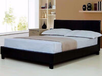 New Faux Leather Prado Double (4FT6) Black/Brown Bed Frame (FREE LOCAL DELIVERY!!!!)