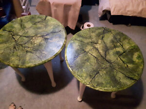 2 handpainted end tables
