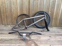 Job lot bmx parts frame forks bars wheels