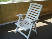 Chairs, adjustable white patio chairs, plastic, folding