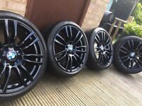 "Genuine BMW 3 4 Series 19"" 403 M Sport Alloy Wheels & Tyres F30 F31 F32 F33 F34 F36 E90 E92 Z4 Black"