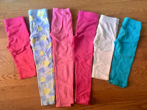 6 PAIR GIRL'S TIGHTS/CAPRIS SIZE 6 GAP/ JOE FRESH/DISNEY/CP