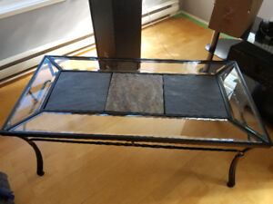 Coffee Table & Two End Tables - Wrought Iron and Glass
