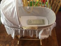 Unisex Moses basket and stand. Mint condition