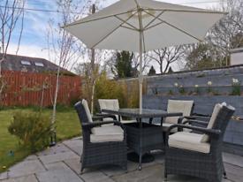 Aluminium Outdoor Grey Rattan Garden Furniture Table Cha Parasol