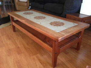 vintage wood coffee table with tile mosaic