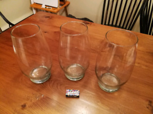 3 oversize wine glasses or 3 normal size vases